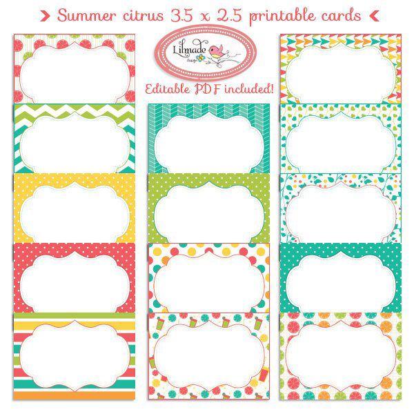Digital Printable Labels Digital Printable Cards 3 5 X 2 5 Etsy Printable Cards Printable Labels Candy Buffet Labels