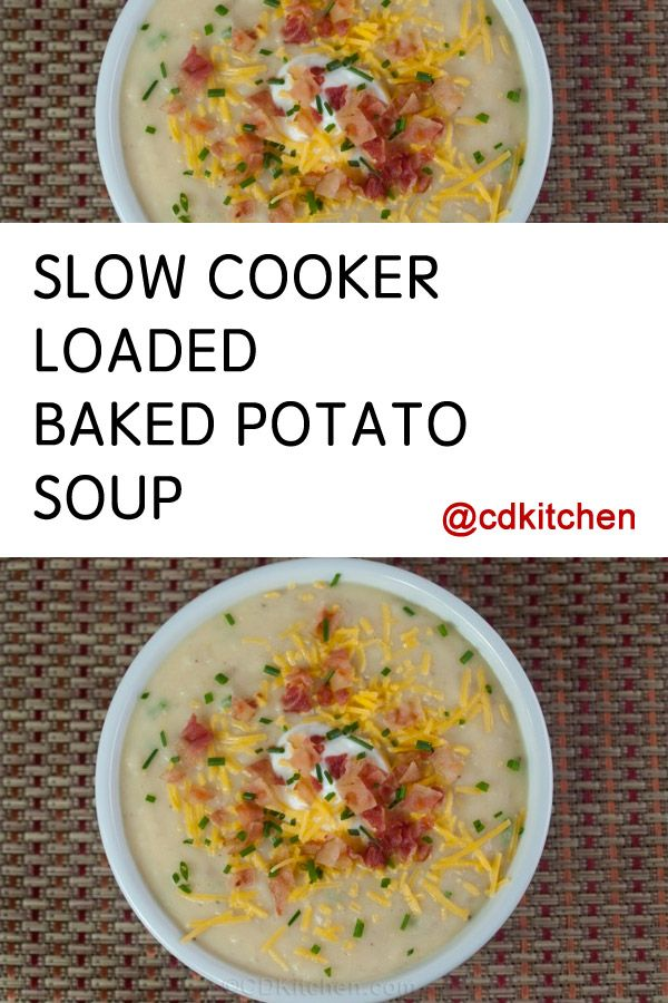 All of your favorite ingredients from a loaded baked potato made into a delicious and simple crock pot soup. This recipe quickly became one of our favorites! | CDKitchen.com