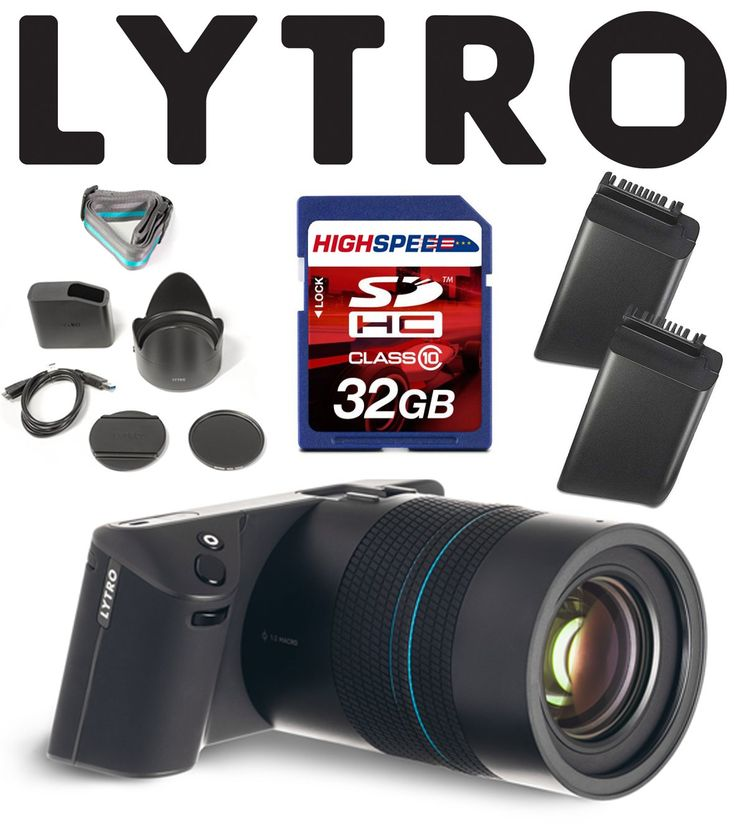 "Lytro Illum Light Field Digital Camera Bundle w/ 32GB, Lytro Battery. LYTRO ILLUM 40 Megaray Light Field Camera with Constant F/2.0, 8X Optical Zoom, and 4"" Touchscreen LCD (Black). Lytro B2-0022 Lithium Ion Battery Pack for Global MP SLR Camera (Black). 32GB Class 10 SDHC Memory Card."