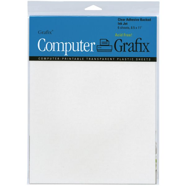 Computer Grafix Ink Jet Adhesive Film transparent plastic sheets are designed for use with ink jet printers so you can create one-of-a-kind transparencies. Each sheet is self-adhesive for easy placement on your project.