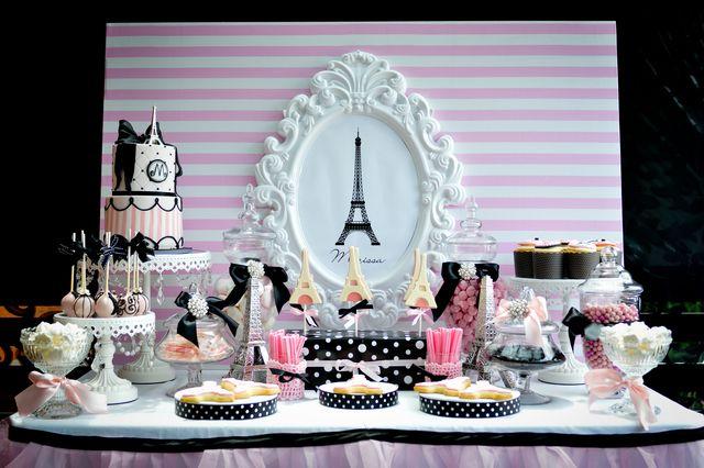 Dessert Table at a Paris Party #parisparty #table