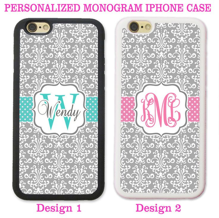 PERSONALIZED GREY DAMASK TEAL PINK DOTS MONOGRAM CASE FOR IPHONE 7 6S 6 PLUS SE #UnbrandedGeneric