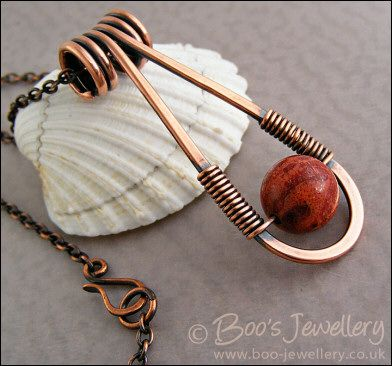 Hand Crafted Jewellery by Boo - original jewellery in Sterling silver and copper - Teardrop shaped antiqued copper and red coral pendant (Powered by CubeCart)