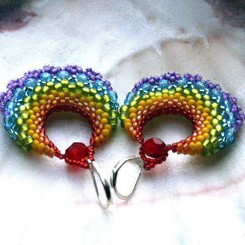 dangle earrings beaded earrings seed bead by koralikowyraj on Etsy