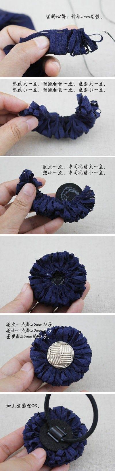 fiori di stoffa fabric flower 小花(二)9.9元购买此款发饰的制作材料,两朵制作材料,一朵的材料,包括扣子发绳。需要的加QQ:402743916或去淘宝-大琳的店-咨询店主。