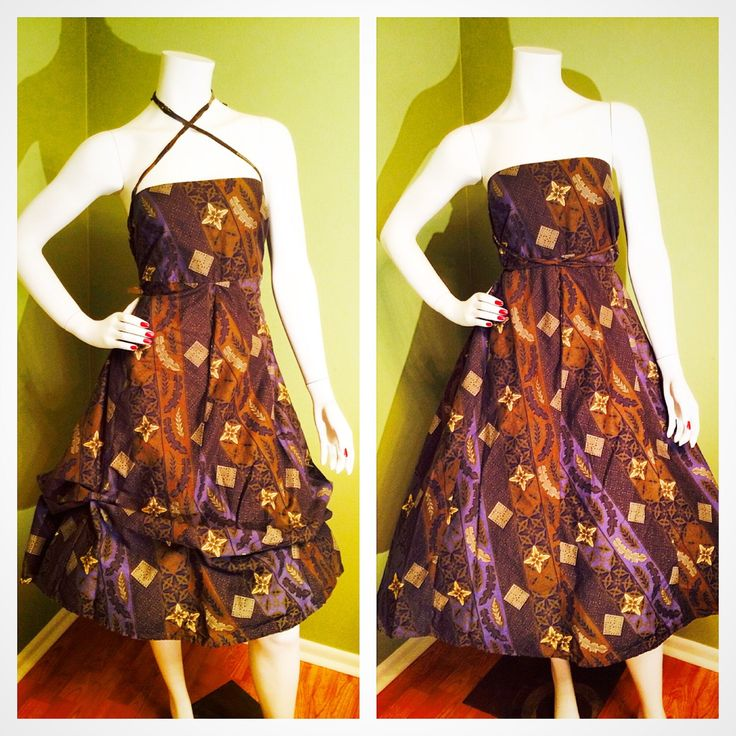 CONVERTIBLE Vintage 1950's 1960's Batik Slate Blue & Autumn Brown Hawaiian Sun Tiki Day Dress w Ruched Elastic Back and Full Tie Skirt S M L by ChickaBoomVintage on Etsy