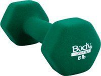 Body Sport 8lb Neoprene Dumbbell. 8 lb Neoprene Colored Dumbbell solid metal coated with neoprene hexagonal shape prevents rolling latex-free available in 12 weight options from 1 to 15 lbs colored Prices are per dumbell. If you would like a pair of the same weight, be sure to order a quantity of 2. .