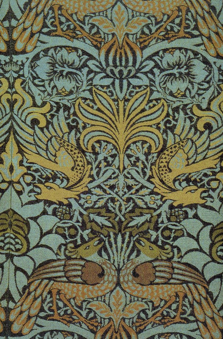 Arts and crafts movement design - Green Blue Peacock Dragon Wallpaper 1878 By Artist William Morris