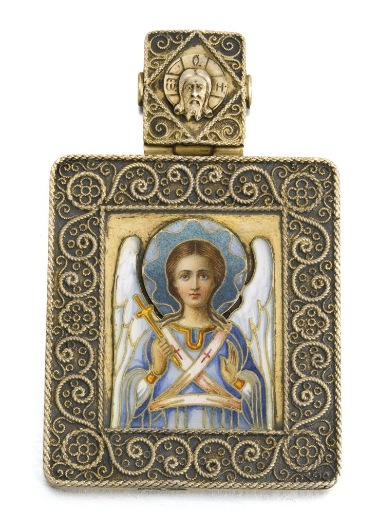 A silver-gilt and enamel icon of a guardian angel, Ovchinnikov, Moscow, 1899-1908 | Lot | Sotheby's