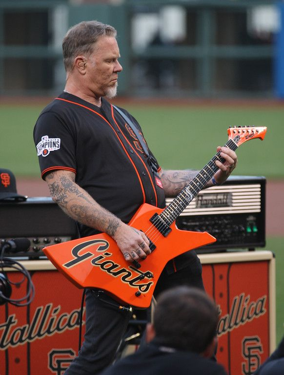 . Metallica\'s James Hetfield plays the national anthem before the San Francisco Giants play the Colorado Rockies at AT&T Park in San Francisco, Calif., on Friday, May 6, 2016. (Jim Gensheimer/Bay Area News Group)