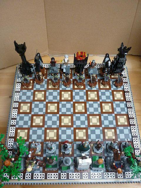 lotr lego chess board
