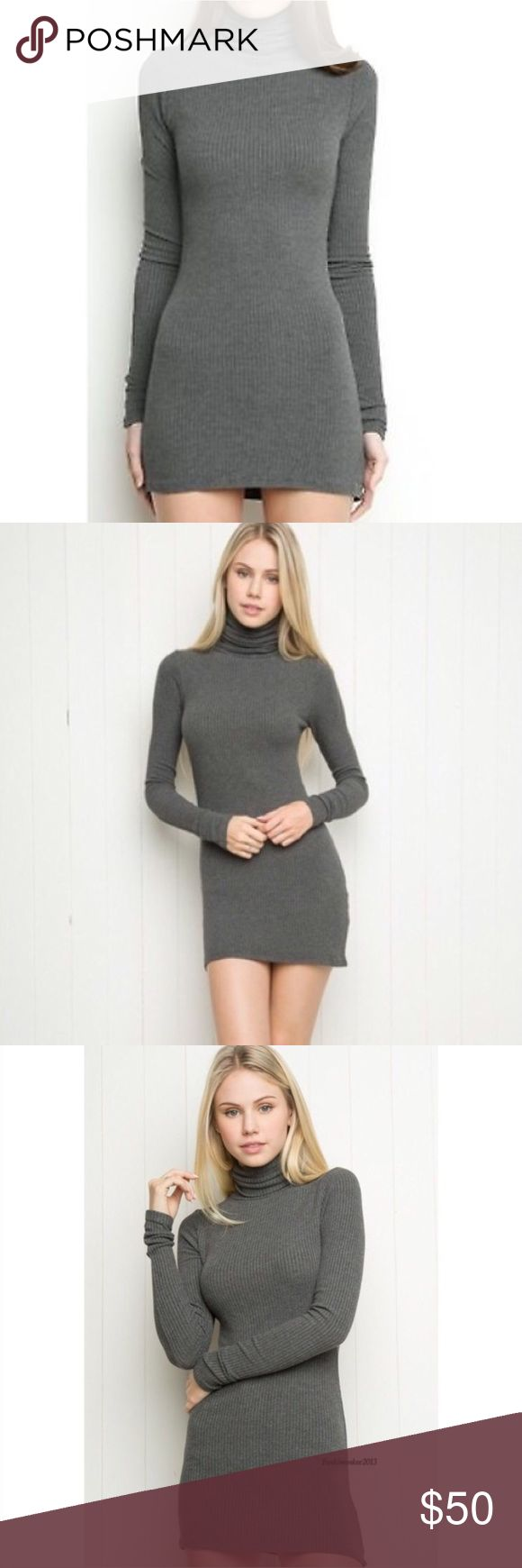 """Brandy Melville Adelie Gray Turtleneck Dress brandy melville adelie dress. rare. dark gray ribbed long sleeve turtleneck style. super soft and stretchy. such a staple piece! could also be worn as a tunic on taller gals. would best fit a size large and under. bodycon / stretch style. size: one size, see measurements measurements: bust (across)- 14.5""""-20"""" / waist (across)- 10""""-18"""" / length- 30"""" / sleeve inseam- 22"""" fabric content: 57% cotton, 40&% viscose, 3% elastane flaws: none Brandy…"""