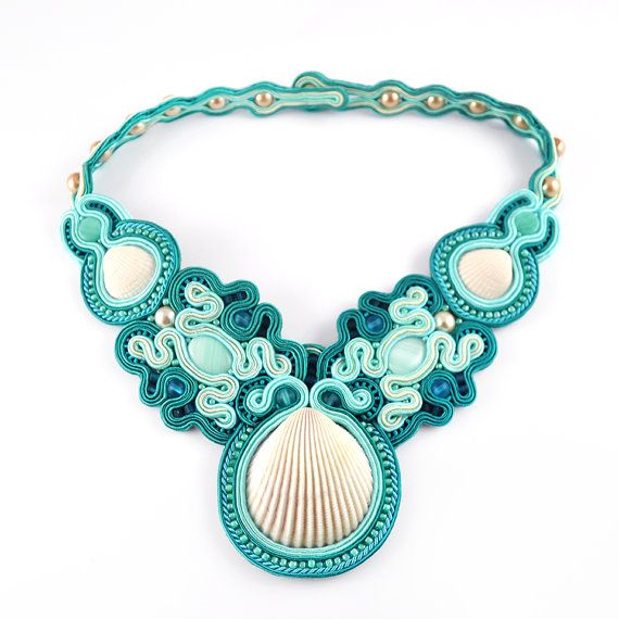 Soutache necklace with real shells teal blue princess by PikLus, $100.00