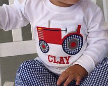 Personalized Monogrammed Boys Fall Tractor Applique shirt and Gingham Pants outfit