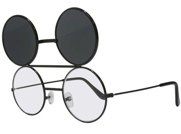 G&G Smoke Dwayne Wayne Round Flip Up Glasses Sunglasses Black Frame