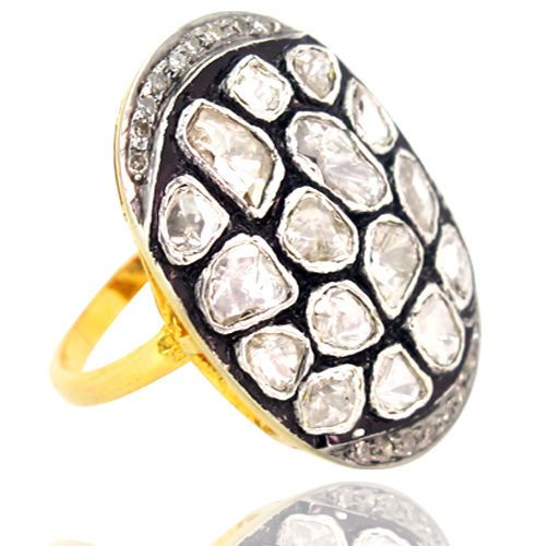 Rose Cut Diamond Ring Resize 925 Sterling Silver 14k Gold Look Victorian Jewelry #Handmade