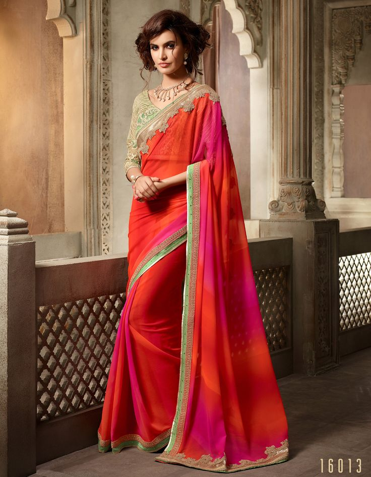 #Lalgulal #Orange-#Magenta #Georgette Embroidery #DesignerBlouse #Partywear #Bridemate #Saree. Buy Now :- http://www.lalgulal.com/sarees/orange-magenta-georgette-embroidery-designer-blouse-partywear-bridemate-saree-688 To Order Visit our #Website or You can Call or #Whatsapp us on +91-95121-50402.  #COD & #FreeShipping Available only in India.