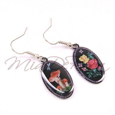 Nostalgia Earrings Toadstool and Rose Aurelia - MiaDeRoca