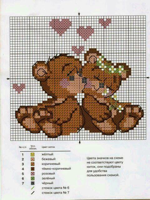 Ursinhos e Corações em Ponto Cruz (via Bloglovin.com )