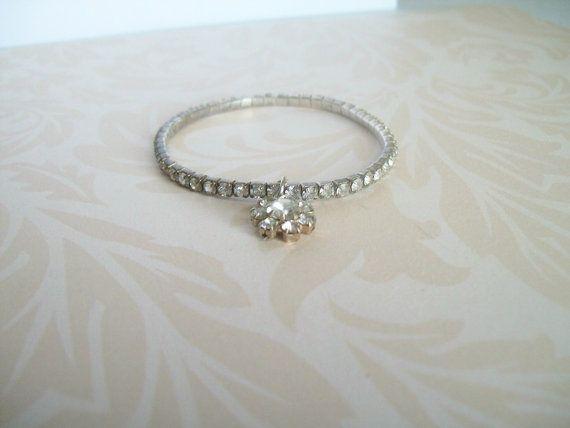 Vintage Diamond Bracelet Stretch Bracelet Clear by JypsyJewels