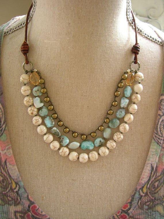 Boho Knotted Gemstone Necklace Country Walk Boho