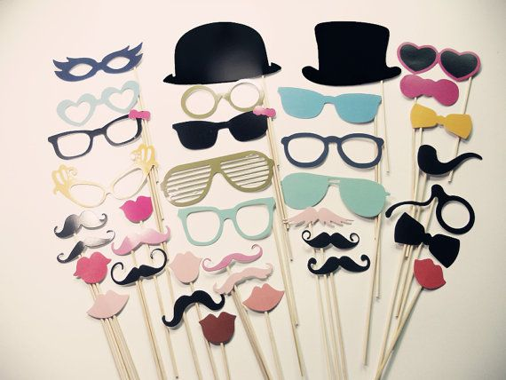 Photo Booth Props - Mustaches - Hats-Smoking Pipe - Glasses - Lips - Photo Booth Props on a Stick Set of 36