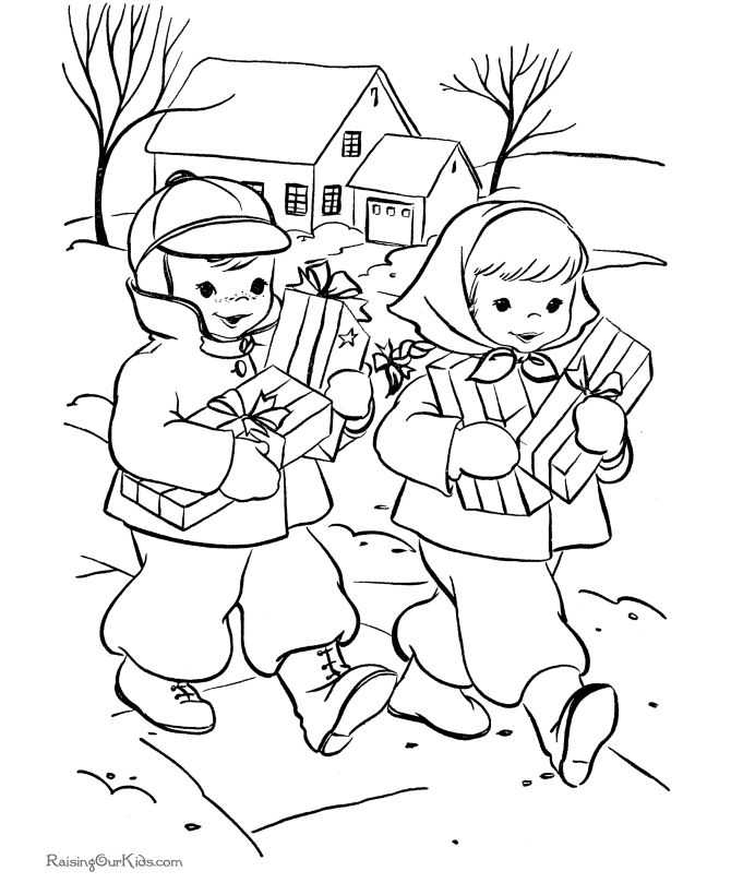 Giving gifts Christmas kids printable coloring page