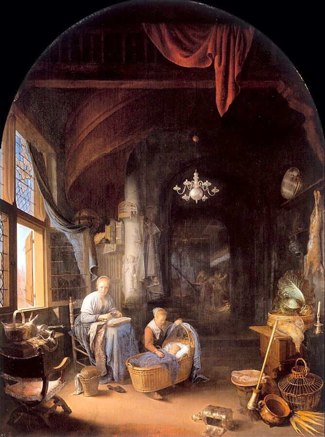 Young Mother by Gerrit Dou 1658. Mauritshuis, The Hague