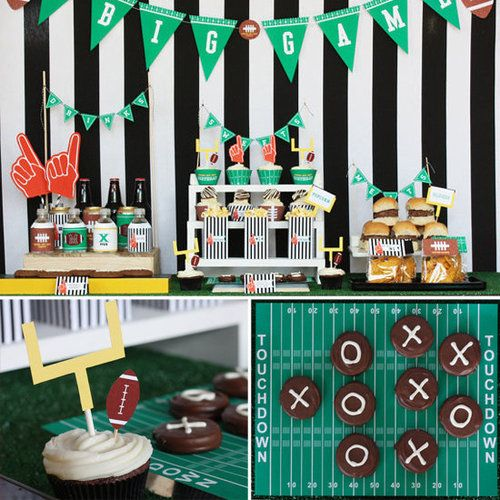 "Football Themed Birthday Party Ideas - sliders, LOVE the chocolate dipped oreos with ""x"" and ""o"" on them!"