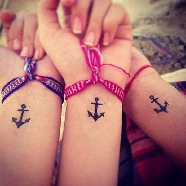 Tatuaje de ancla en la muñeca - Friends tattoo