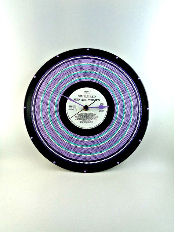 Violet&White Vinyl Clock Hand Painted Upcycled by InsaneDotting