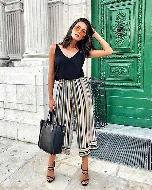 94bba9d430e Summer Stripe Culottes Outfit Idea for Work  fashionoutfitsforsummer