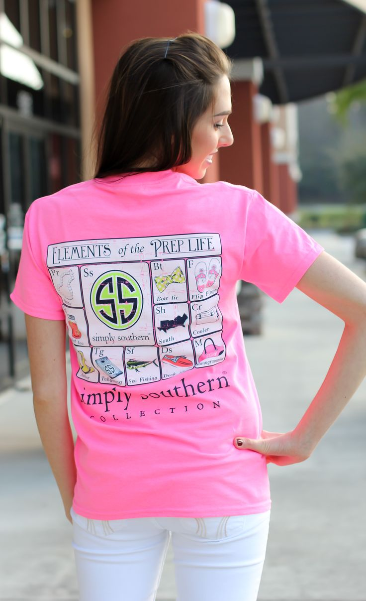 Simply Southern is a preppy T-shirt collection. This bright pink tee features a screen print of everything preppy. $20