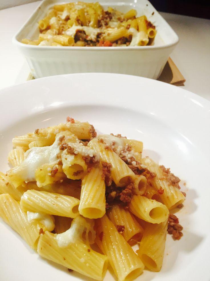 Rigatoni+gratinati+con+ragu+e+mozzarella+-+Ragu+and+mozzarella+pasta+gratin
