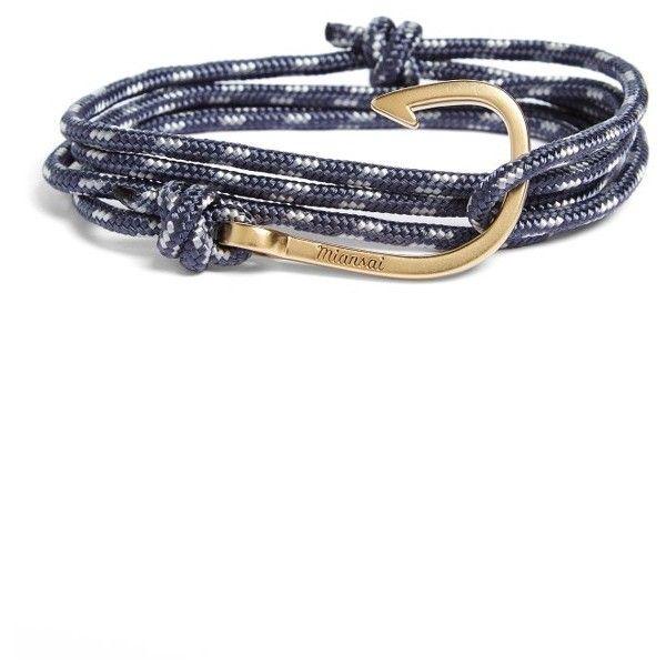 Men's Miansai Hook Rope Wrap Bracelet ($75) ❤ liked on Polyvore featuring men's fashion, men's jewelry, men's bracelets, dusk, mens braided rope bracelets, mens rope bracelets, mens ties, mens leather braided bracelets and mens nautical bracelets