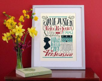 Jane Austen bigliography, hand lettering print (12,60 x 18,10)