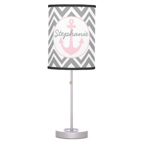Wedding Grey, White, Pastel Pink Chevron Nautical Desk Lamp