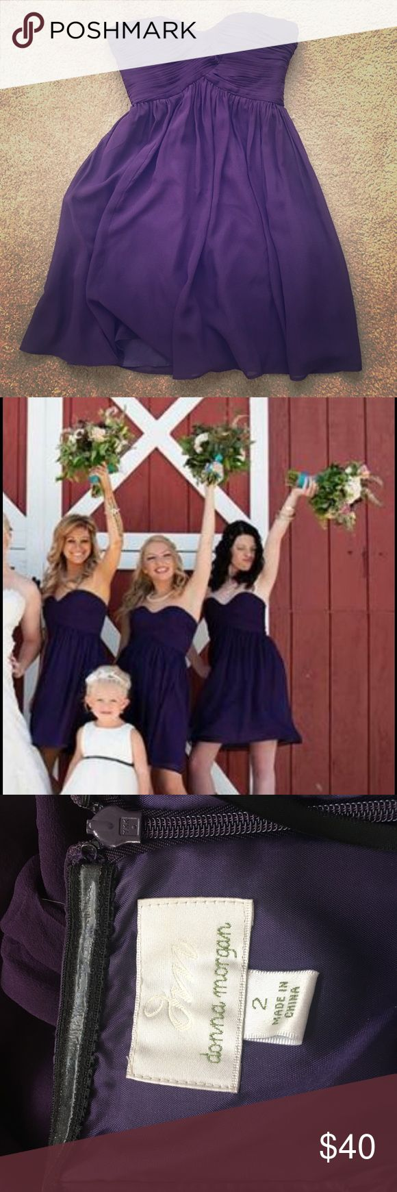 Donna Morgan bridesmaid / cocktail dress purple Gorgeous rich plum bridesmaid dress. Worn once, I have the cowboy boots too if interested Donna Morgan Dresses Wedding