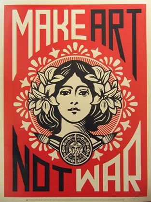 Peace Girl by Shepard Fairey.   Sometimes it's ok to be a sell out if it reminds you what is important.