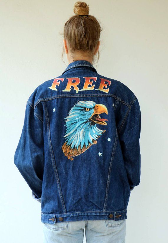 0c02a2f5d64 Free Denim Jacket, Vintage 80s Denim Jean Jacket Western Country Hippie  Hipster Painted Eagle Oversi