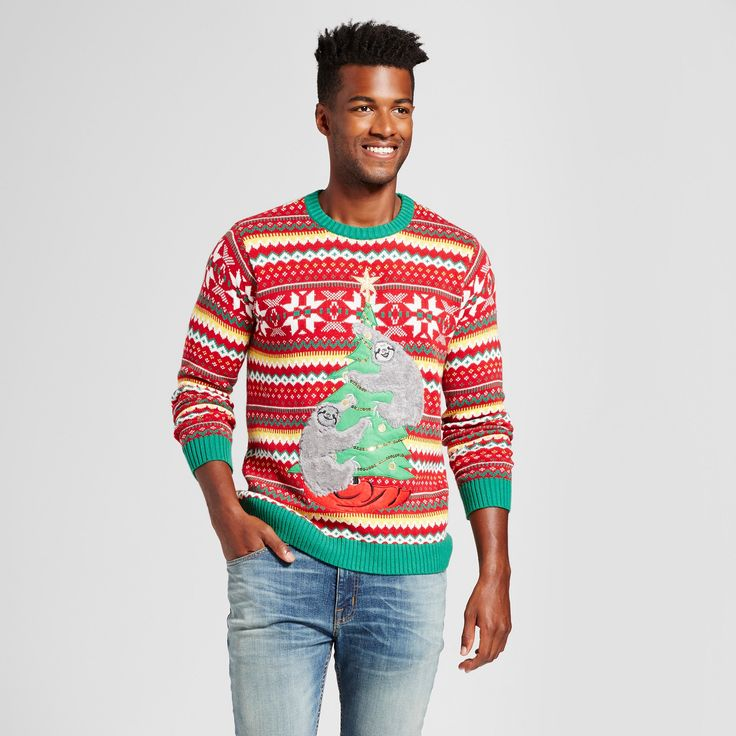 Men's Ugly Holiday Sloths Sweater - 33 Degrees Red Xxl