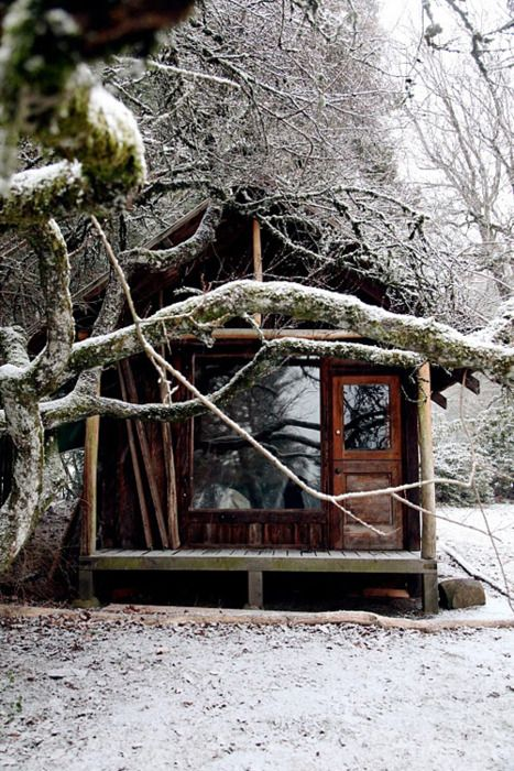 little house in the snow