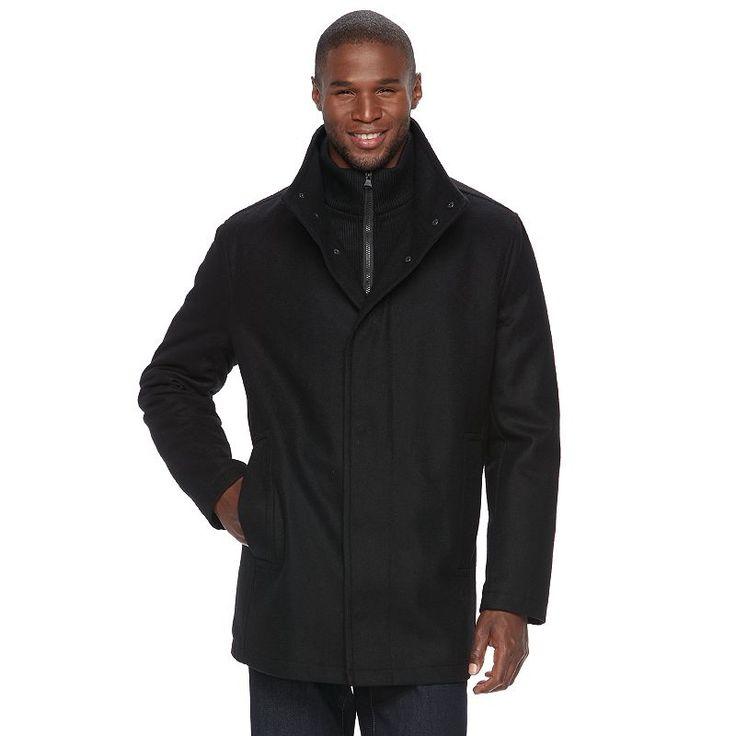 Men's Andrew Marc Wool-Blend Car Coat, Size: Medium, Black