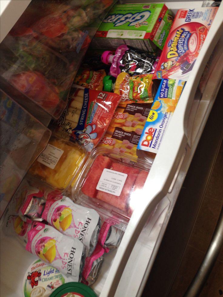 Healthy Snack drawer in fridge for kids