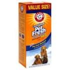 Arm&Hammer Pet Fresh carpet deoderizer.. i sprinkle this on the carpet before i vaccuum like once a month ( i sprinkle it once a month, not vaccuum once a month.. i promise).  It helps loosen the dirt and leaves a nice scent you can smell the next couple times you vaccuum.  I dont even have an inside pet i just like this particular scent but it does come in others :)