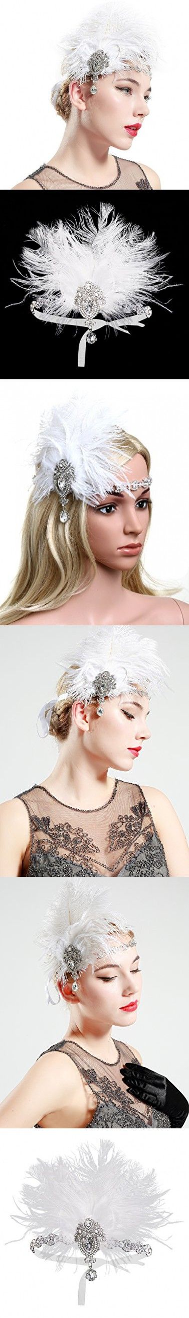 BABEYOND Women's Ostrish Feather Crystal Headband Wedding Bridal Feather Headband Flapper Headpiece 1920s