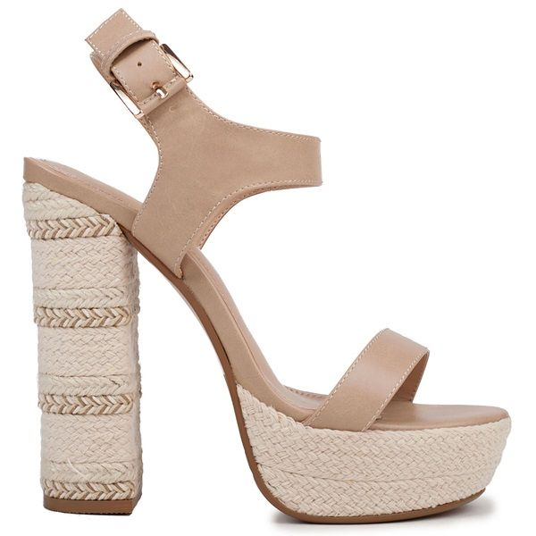 Beige high-heel sandal with band and platform. Features block heel decorative with rope and metallic rope. Fasterns with adjustable ankle strap.