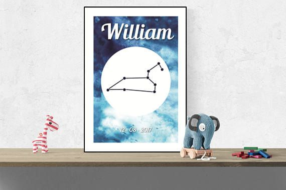 Custom Leo wall art Zodiac constellation name print Nursery