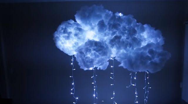 El Yapımı Led Işıklı Bulut Lamba