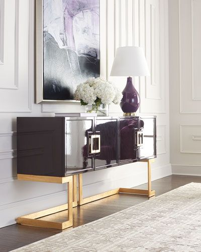 Handcrafted buffet with mid-century modern design. Made of wood composite and iron. Hand-painted inside and out with a shiny, dark rosewood finish; hardware and base have a hand-painted golden finish.